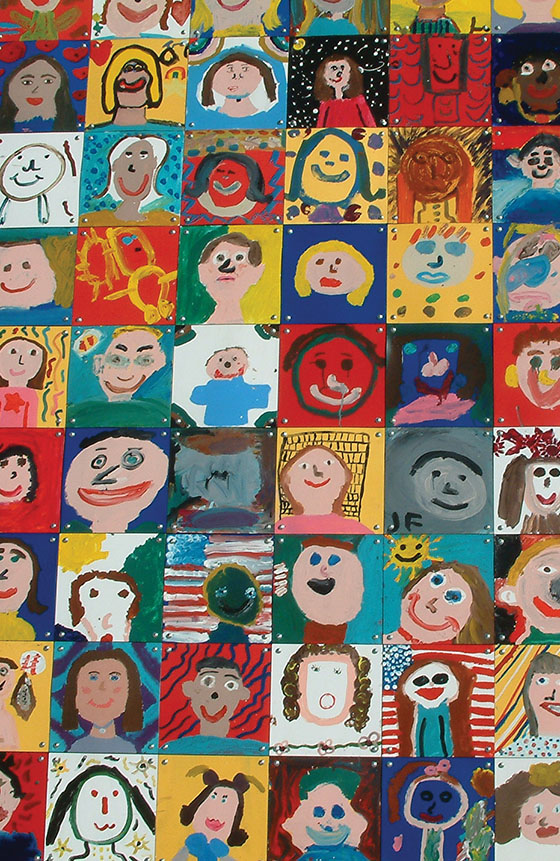 Mural Of Painted Self Portrait Tiles Completed By Children