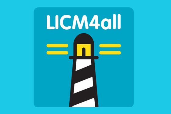 The LICM4all logo featuring a black and white lighthouse and yellow streams of light in the shape of an equal sign.