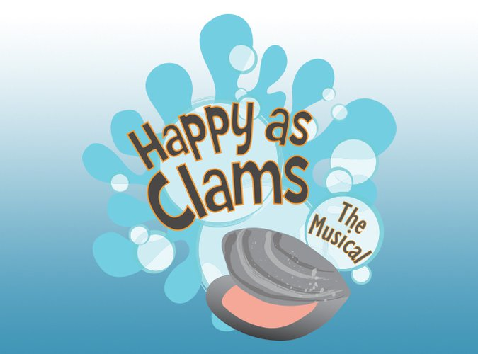 The Happy as Clams logo which features a gray clam with it's mouth open in front of a splash of blue water.