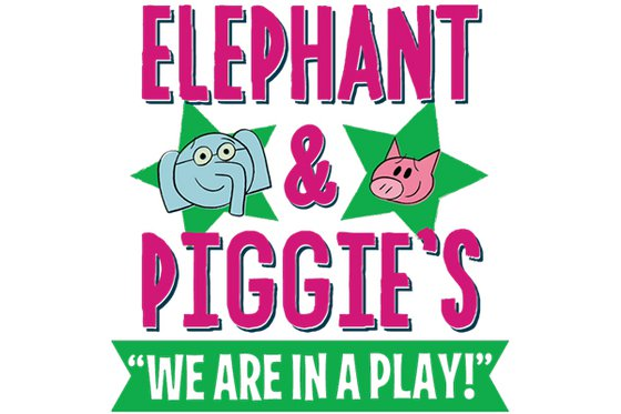 "Elephant and Piggie with their logo and the text ""we are in a play."""