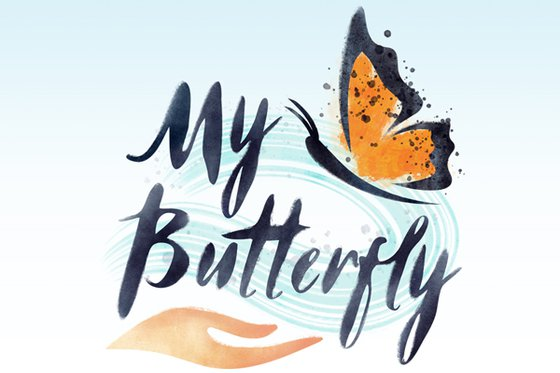 "The text ""My Butterfly"" with a hand and butterfly."
