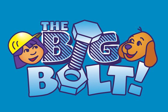 "The text ""The Big Bolt"" written in large blue letters. To the left is a young cartoon-style girl wearing a construction hat, to the right a brown cartoon-style dog."