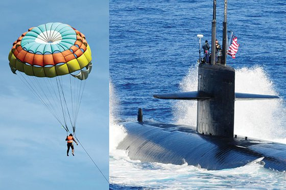 Two photos next to each other. The photo on the left is a of a person using a parachute in the sky. The photo on the right is of a submarine coming to the surface of the water.