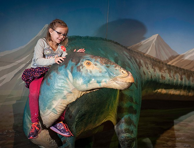 Child sitting on top of a large model dinosaur.