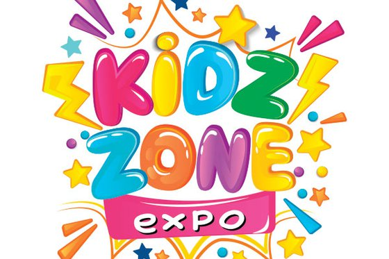 "Colorful text reading ""Kid Zone Expo"" surrounded by colorful stars and lightening bolts."
