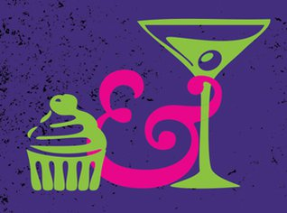 Graphic image of a cupcake and cocktail.