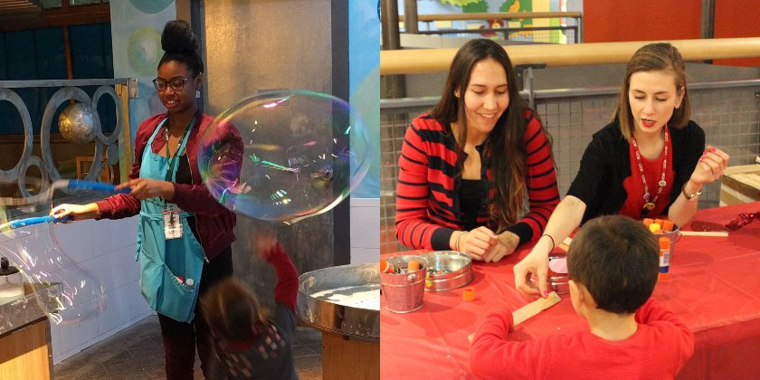 woman making bubbles and educators creating craft with child