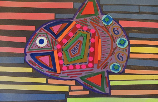 A piece of art work on black construction paper, featuring a fish decorated with multi-colored pieces of paper which replicates pieces of tile.