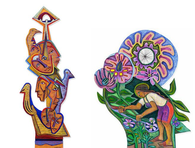 Two pieces of artwork by Betty LaDuke.