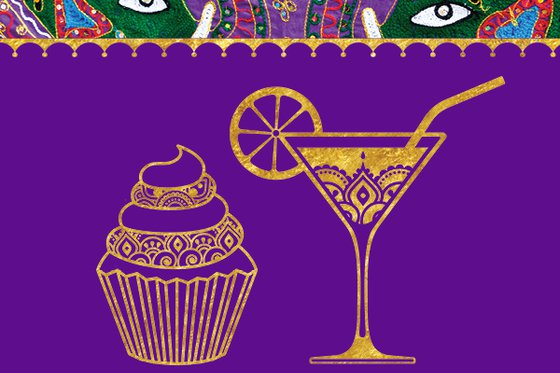 A purple and golden cupcake and cocktail. On the top of this photo there are the faces of two elephants made out of intricate, multi-colored cloth.