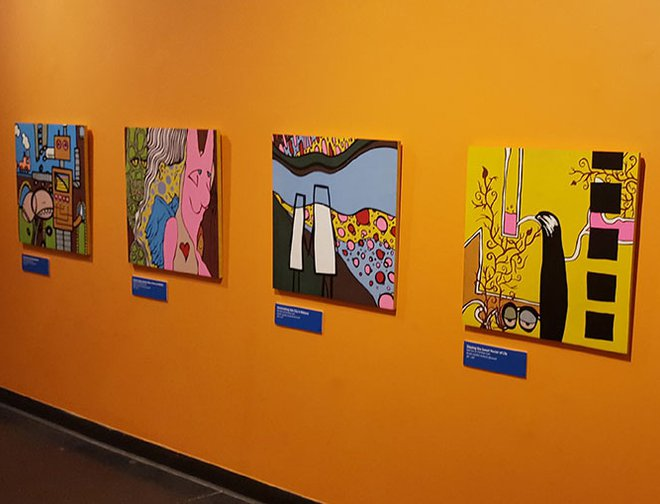 Art displayed in gallery at LICM.