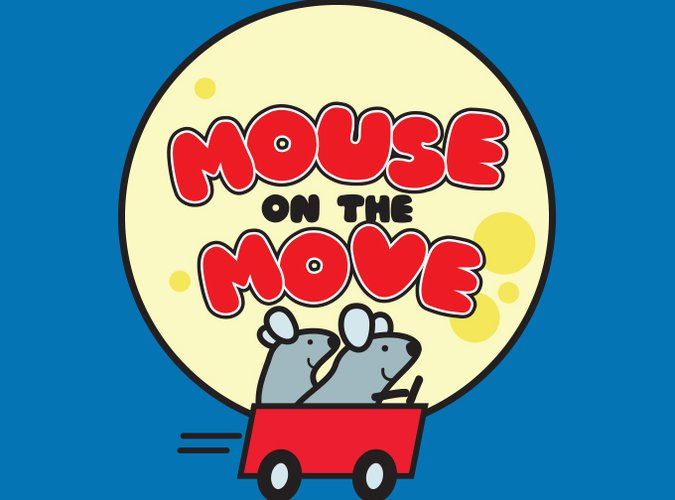 The Mouse on the Move logo which features two gray mice in a red car in front of a large full moon.