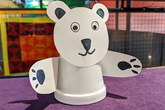polar bear craft made from white cup