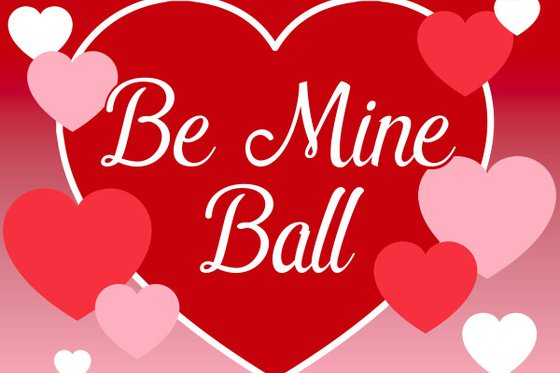 "Red valentines heart with ""Be Mine Ball"" inscribed."