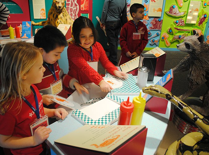 Children experimenting with the similar and different kinds of foods animals eat in our Feasts for Beasts exhibit.