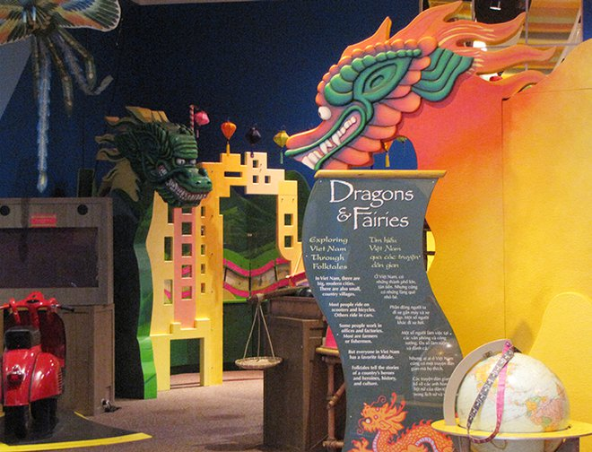 View of the wooden dragons and creatures featured in this exhibit.
