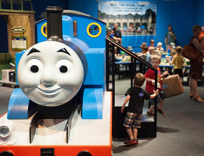 Large model of Thomas the Tank Engine in exhibit.