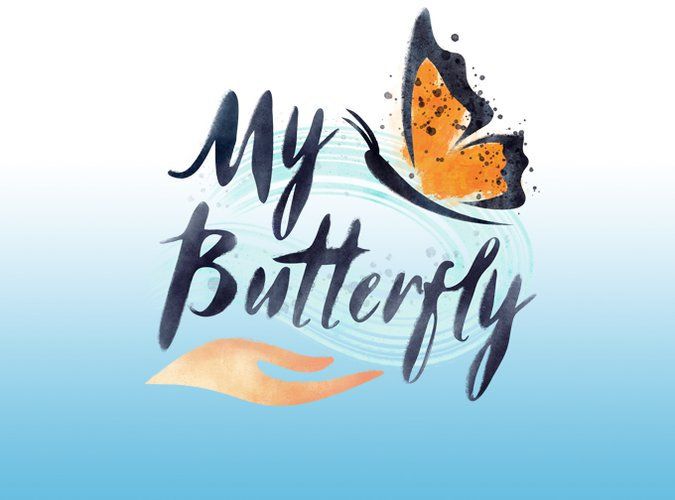 "Logo for My Butterfly featuring a graphic of a hand above text ""My Butterfly"" and a monarch butterfly."