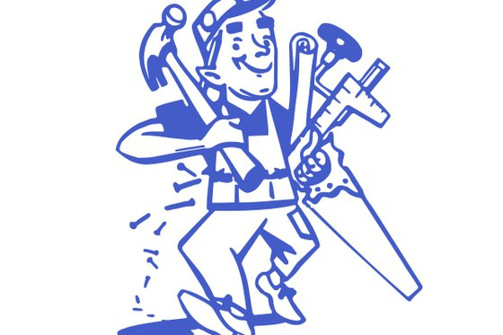 Cartoon image of a man holding various tools.